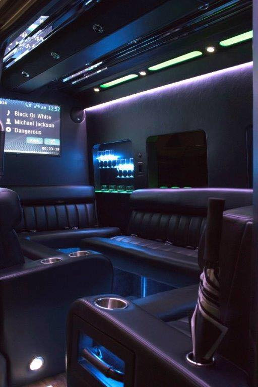 Inside a party bus from Tiffany Limousine